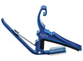 Blue Capo for acoustic guitars. Easy headstock park and one hand reposition.