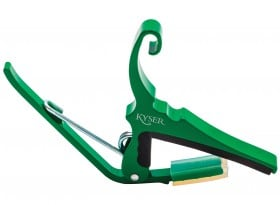 Green Capo for acoustic guitars. Easy headstock park and one hand reposition.