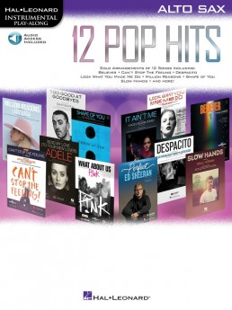 12 Pop Hits Alto Saxophone Book with Online Audio