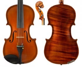 Gliga Vasile Violin with Lion Head Double Purfling 1pc Back
