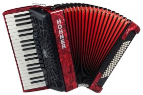 Hohner Bravo III 80 Bass Chromatic Accordion In Red Pearl