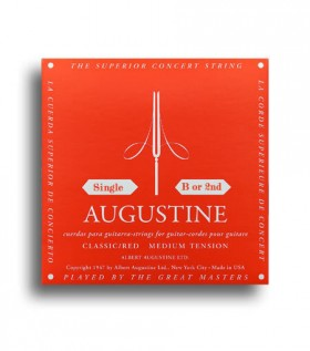 Augustine Classic Red Regular Tension (B-2nd) Single Classical Guitar String