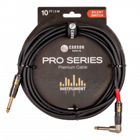 Carson - CSW10SL Silent Switch Pro Series 10 foot right angle Silent Switch instrument cable. Black