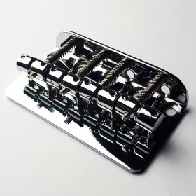GT Bass Bridge with Brass Saddles in Chrome Finish (4-String)