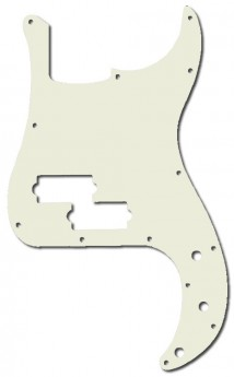 GT 3-Ply P-Style Bass Guitar Pickguard in White (Pk-1)