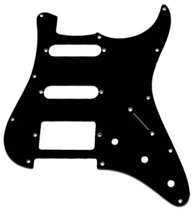 GT 3-Ply ST-Style 2SC/1HB Electric Guitar Pickguard in Black (Pk-1)