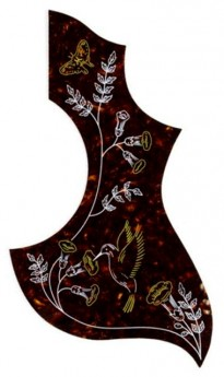 GT Acoustic Guitar Pickguard in Shell with Hummingbird Design (Pk-1)