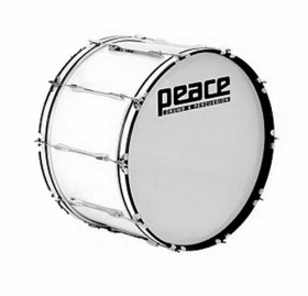 """Peace 10-Lug Marching Bass Drum in White (22 x 10"""")"""