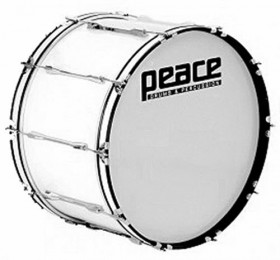 """Peace 10-Lug Marching Bass Drum in White (26 x 10"""")"""