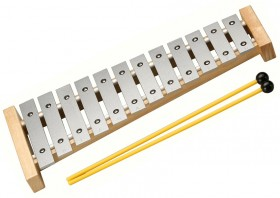 Opus Percussion 12-Note Silver Glockenspiel with Natural Wood Frame