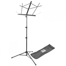 On Stage Sheet Music Stand with Tubular Tripod Base in Black with Bag