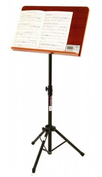 On Stage Pro Orchestral Sheet Music Stand with Wide Rosewood Bookplate