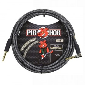 Pig Hog Amp Grill Woven Instrument Cable Right Angle 10ft