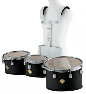 Marching Tenor Drum Trio Set in Black with Carrier