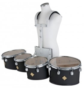 Marching Tenor Drum Quad Set in White with Carrier