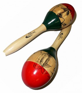 Percussion Plus Wooden Maracas in 3-Tone & Patterned Finish