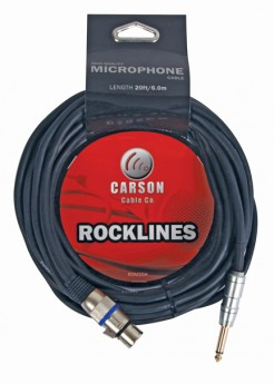 CARSON CABLE CO 020 Ft Mic Cable Female Xlr To Male Jack Chrome