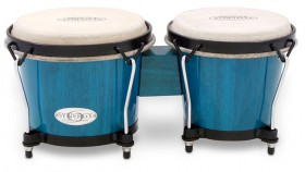 """Toca 6 & 6-3/4"""" Synergy Series Wooden Bongos in Bahama Blue"""