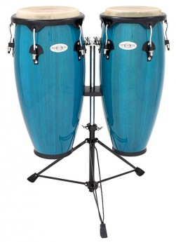 """Toca 10 & 11"""" Synergy Series Wooden Conga Set in Bahama Blue"""