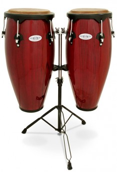"""Toca 10 & 11"""" Synergy Series Wooden Conga Set in Rio Red"""