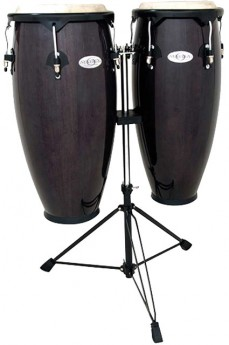 """Toca 10 & 11"""" Synergy Series Wooden Conga Set in Trans Black"""
