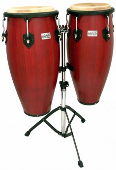 """Toca 11 & 11""""-3/4"""" Players Series Wooden Conga Set in Cherry"""