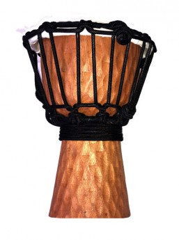 """Toca Wooden Mini Series 4"""" Djembe in Carved Cherry Stain Design"""