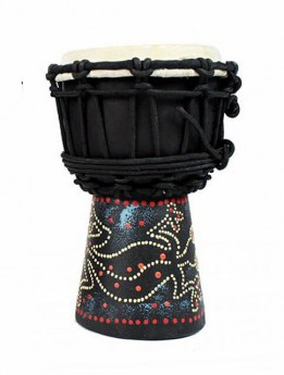 """Toca Wooden Mini Series 4"""" Djembe in Hand Painted Gecko Design"""