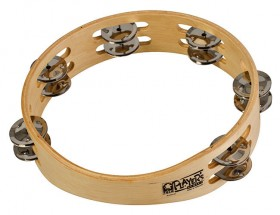 """Toca Players Series Wooden 10"""" Tambourine with Double Row Of Jingles"""