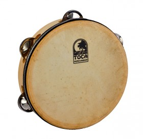 """Toca Players Series Wooden 7-1/2"""" Tambourine with Head & Single Row Of Jingles"""