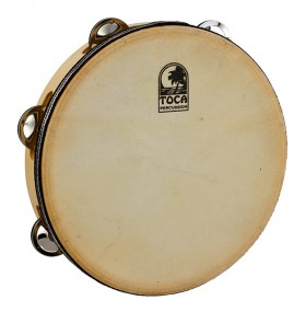 """Toca Players Series Wooden 9"""" Tambourine with Head & Single Row of Jingles"""
