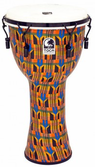 """Toca Freestyle 2 Series Mech Tuned Djembe 12"""" in Kente Cloth"""