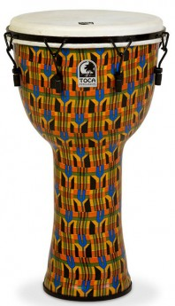 """Toca Freestyle 2 Series Mech Tuned Djembe 14"""" in Kente Cloth with Bag"""