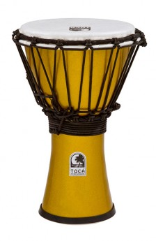 """Toca Freestyle Colorsound Series Djembe 7"""" in Metallic Yellow"""