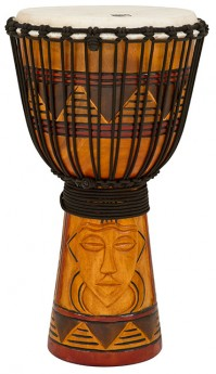 """Toca Origins Series Wooden Djembe 12"""" Synthetic Head in Tribal Mask"""