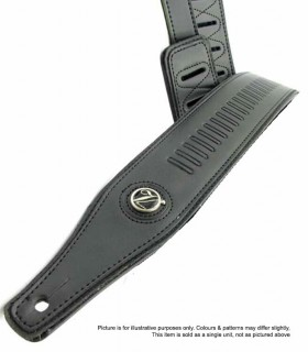 Vorson High Quality Black Leather Guitar Strap with Stamped Bullet Pattern