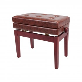 Crown Deluxe Tufted Height Adjustable Piano Stool with Storage Compartment (Mahogany)