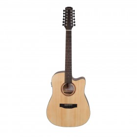Martinez 'Natural Series' Spruce Top 12-String Acoustic-Electric Dreadnought Cutaway Guitar (Open Pore)