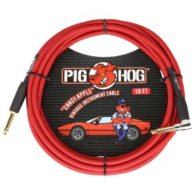 Pig Hog Candy Apple Red Instrument Cable Right Angle 10ft