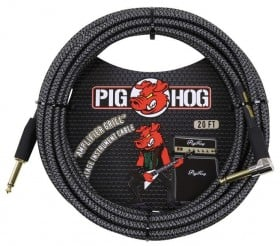 Pig Hog Amp Grill Woven Instrument Cable Right Angle 20ft