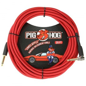 Pig Hog Candy Apple Red Instrument Cable Right Angle 20ft