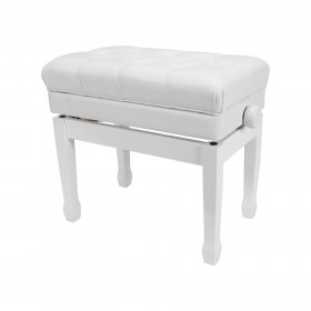 Crown Premium Tufted Double Padded Height Adjustable Piano Stool with Storage Compartment (White)
